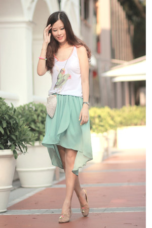 turquoise blue AsianICandy skirt - tan Choies flats - white laurustinus top