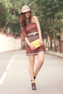 Burnt-orange-love-dress-eggshell-monki-hat-yellow-romwe-bag