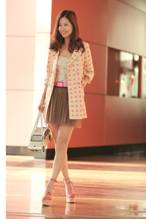 bubble gum madam benjie blazer - hot pink tie-up belt - ivory Pull &amp; Bear intima