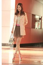 bubble gum madam benjie blazer - hot pink tie-up belt - ivory Pull & Bear intima