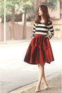 Gold-choies-necklace-black-choies-top-ruby-red-choies-skirt