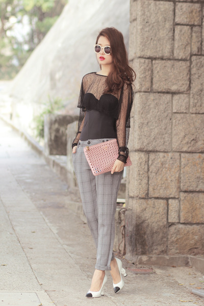 black Choies top - light pink Prada bag - heather gray romwe pants