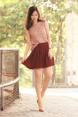 brick red Sheinside skirt - light pink Lovelina accessories