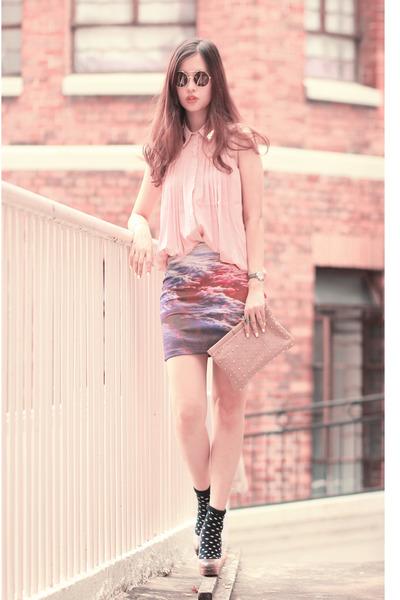 amethyst beckybwardrobe skirt - light pink awwdore top - black Wildfox glasses