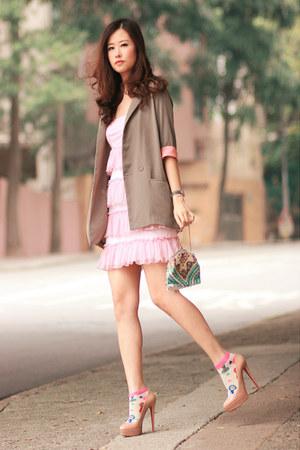 Accesorize socks - becky bloomwoods wardrobe dress - Christian Louboutin heels