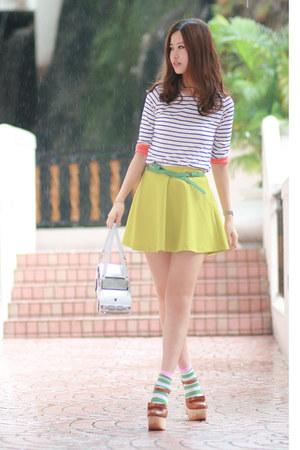white Amliya bag - green H&M socks - white yesstylecom t-shirt - chartreuse yess