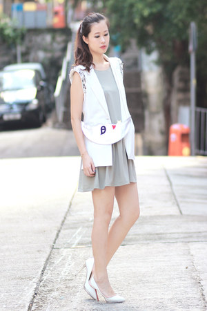 heather gray ianywear dress - white romwe blazer
