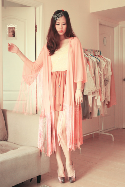 pink Miu Miu heels - ivory Smooch top - peach rare london cardigan