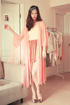 pink Miu Miu heels - ivory Smooch top - peach rare london cardigan