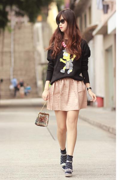 black romwe sweater - light pink stylesocietal skirt