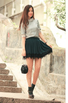 green Yesstyle skirt - black kate spade bag - silver romwe accessories