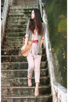 gray the taes blazer - pink mystic pants - beige Fendi bag - beige Christian Lou