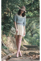 sky blue snidel sweater - nude Monki hat - ivory Zara skirt