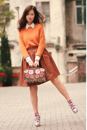 ivory Chicwish shirt - light orange Yesstyle sweater - tawny Chicwish skirt