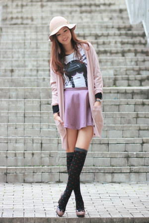 dark khaki comfit heels - light purple Yesstyle skirt - light pink H&M cardigan
