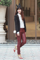 black romwe blazer - white romwe shirt - brick red romwe pants