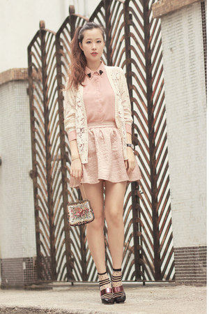 ivory Chicwish cardigan - light pink Chicwish shirt - pink Style Societal skirt