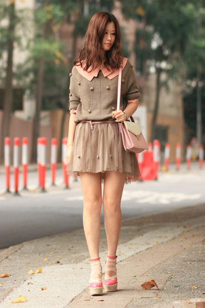 bubble gum RED valentino wedges - light brown twinset dress wwwchicwishcom dress