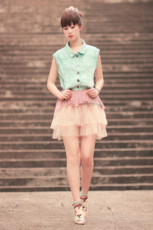 eggshell Yesstyle skirt - light blue romwe jacket - light pink Yesstyle top