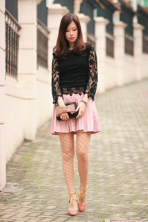 black Global Citizen top - pink Chloe bag - light pink romwe skirt