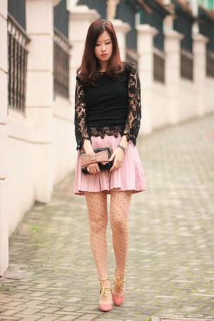 black Global Citizen top - pink Chloe bag - light pink romwe skirt