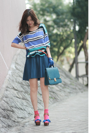blue viktor & rolf heels - hot pink H&M socks - orange Zara belt