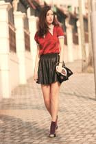 ruby red Sheinside blouse - purple H&M socks