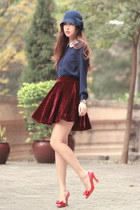 brick red romwe skirt - navy awwdore shirt - red Miu Miu heels