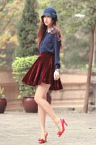 brick red romwe skirt - navy awwdore shirt - red Miu Miu heels
