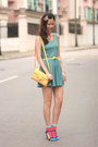 Turquoise-blue-yesstyle-dress-yellow-romwe-bag-hot-pink-romwe-socks