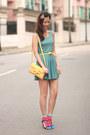 Turquoise-blue-yesstyle-dress-yellow-romwe-bag-hot-pink-romwe-socks