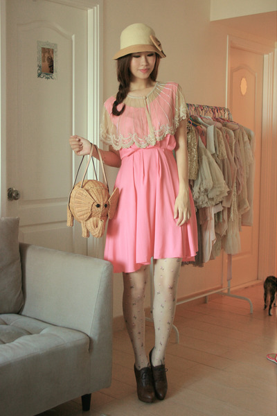 beige kate spade bag - bubble gum Yesstyle dress - dark brown Joy & Peace heels
