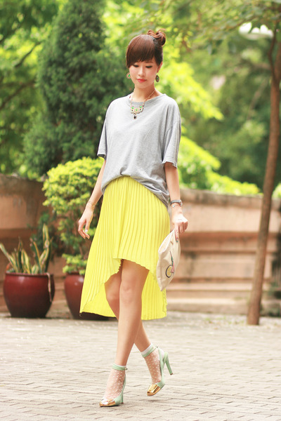 lime green YSL heels - yellow Style by Marina skirt - green Pree Brulee necklace