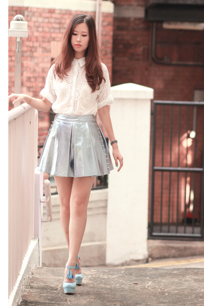 periwinkle Sugarfree skirt - silver romwe skirt - ivory Choies shirt