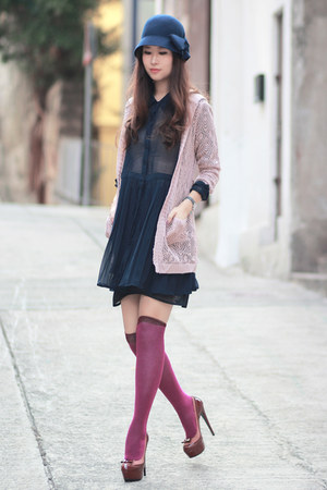 magenta minga berlin socks - navy Chicwish dress - light pink ianywear cardigan