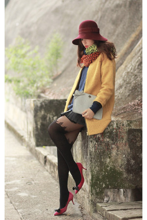 yellow romwe coat - orange romwe scarf - silver kate spade bag