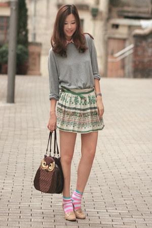 dark brown Amliya bag - green Zara skirt - pink Romwecom accessories - beige com