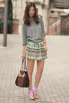 dark brown Amliya bag - green Zara skirt - pink Romwecom accessories - beige com