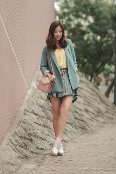 white from laurustinus shoes - light blue from yesstylecom blazer - teal pull &