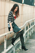 red Yesstyle cardigan - black Zara skirt