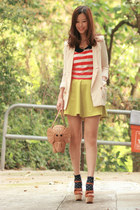 cream from laurustinus blazer - tan kate spade bag - red suye t-shirt - lime gre