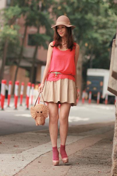 eggshell Zara skirt - beige Monki hat - tan kate spade bag - maroon H&M socks