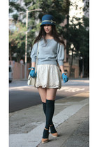 teal Tie Rack hat - sky blue snidel sweater - ivory Zara skirt - camel Camel wed