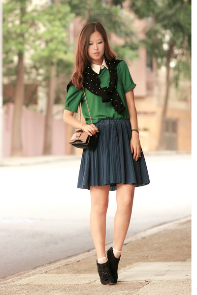 navy Yesstyle skirt - light pink Chloe bag - green from laurustinus blouse