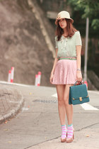 sky blue H&M socks - light blue AsianICandy blouse - light pink romwe skirt - be