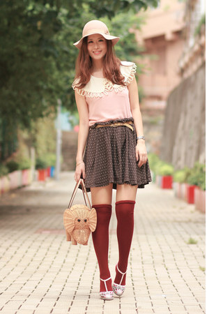 brown Pull & Bear skirt - tan kate spade bag - light pink romwe vest