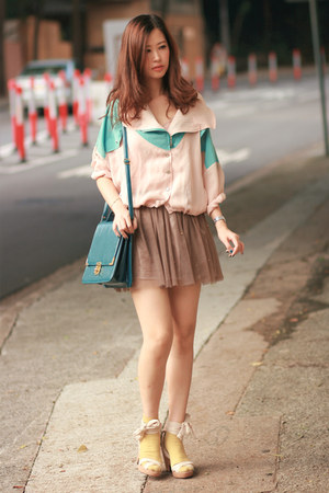 turquoise blue Yesstyle jacket - teal bag - cream Pull &amp; Bear wedges