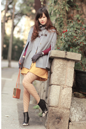heather gray romwe cape - mustard a skirt