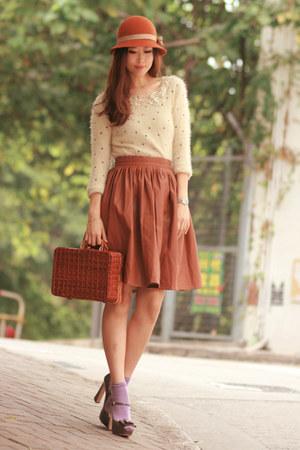 ivory Chicwish sweater - tawny Chicwish bag - brown Chicwish skirt
