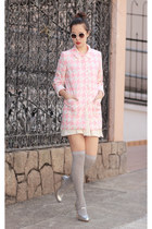 light pink romwe coat - silver Miu Miu heels